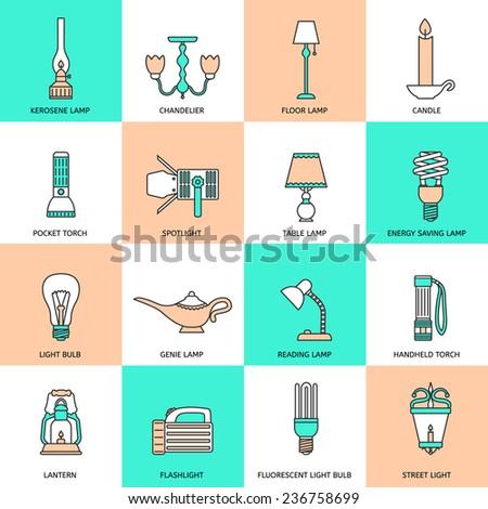 Flashlight and lamps light and illumination equipment icons flat line set isolated  illustration - stock photo