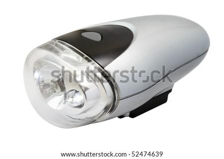 Flashlight for bicycle isolated on white background - stock photo