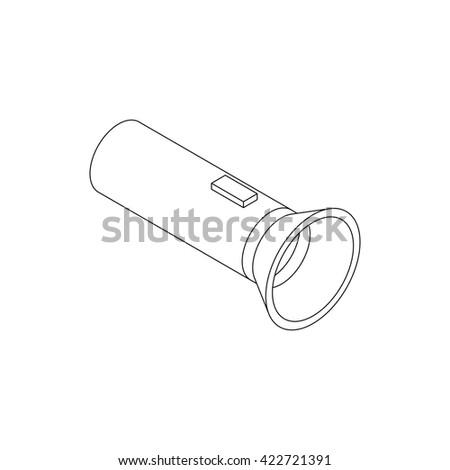 Flashlight icon, isometric 3d style  - stock photo
