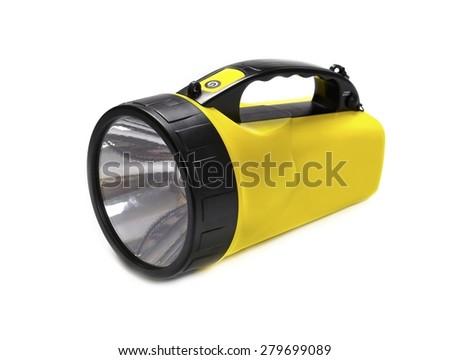Flashlight LED, yellow, isolated on white background - stock photo