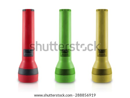 Flashlight three color isolated white background. - stock photo