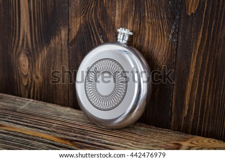 Flask for alcoholic beverage - stock photo