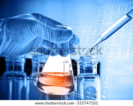 Flask in scientist hand with lab background