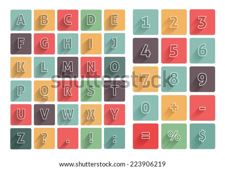 Flat alphabet A-Z icons multicolor set with long shadow. Calculator mathematics numbers. Raster version - stock photo