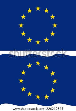 Flat and waving European Union Flag. Raster version
