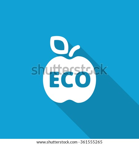Flat Apple icon with long shadow on blue backround - stock photo