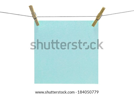 Flat aqua square sticky note hanged.