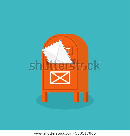 Flat background. Postbox. Envelope. International communication. Business correspondence and private messages. Express delivery. Postal services. Chatting. - stock photo