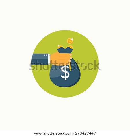 Flat background with hand and money bag. Money making. Bank deposit.  Financials. - stock photo