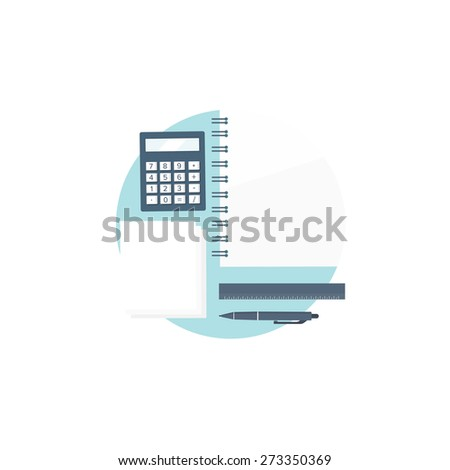 Flat background. Workplace. Calculator, ruler, pencil and documentation. Financial statement and business documents. - stock photo