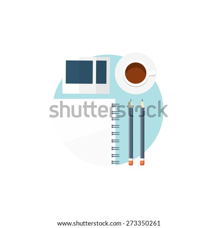 Flat background. Workplace.  Morning coffee or tea, notepad, photo and pencil. - stock photo
