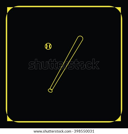 Flat baseball bat icon. Ball illustration. - stock photo