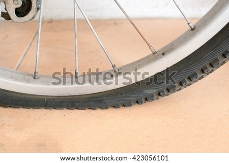 Flat bicycle tires - stock photo