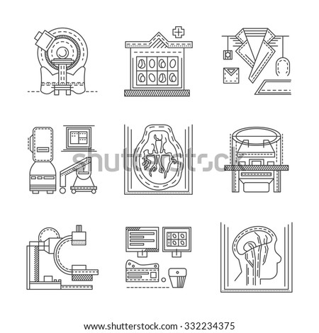 Flat black line design icons for medical research. MRI, CT scan, MRI equipment, brain imaging and other elements for your website - stock photo
