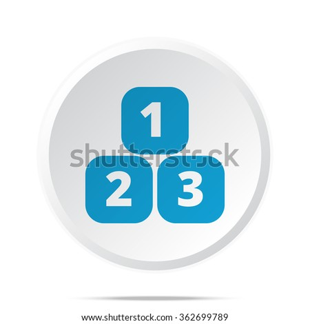 Flat blue 123 Blocks icon on circle web button on white - stock photo