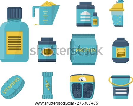 Flat blue icons collection of sport supplements set for sportsmen healthy nutrition and good growth. - stock photo