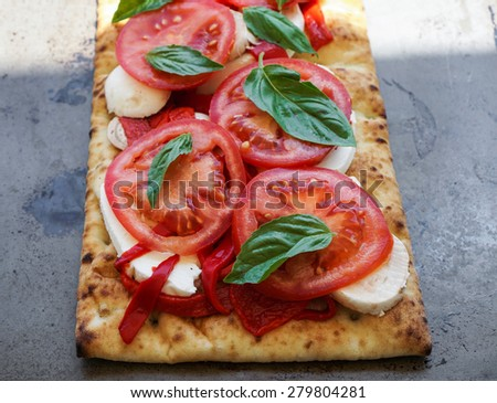 Flat bread with roasted peppers, heirloom tomatoes, mushrooms, mozzarella cheese and basil. - stock photo