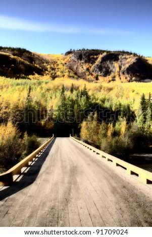 Flat bridge over Tuya River of British Columbia - stock photo