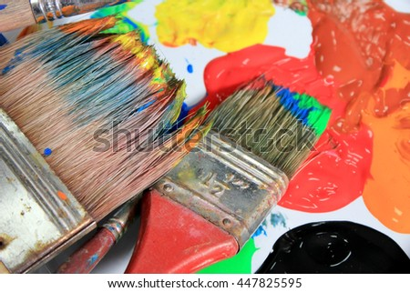 Flat Brushes and paints - stock photo