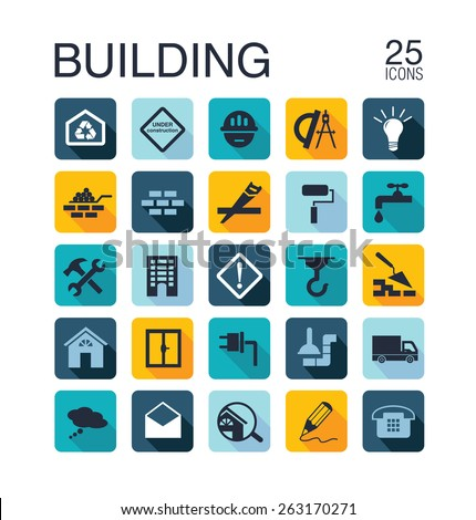 Flat building icons for web.  illustration - stock photo