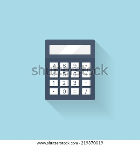Flat calculator icon - stock photo