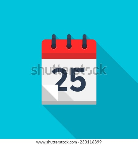 Flat calendar icon. Date and time background. Number 25 - stock photo