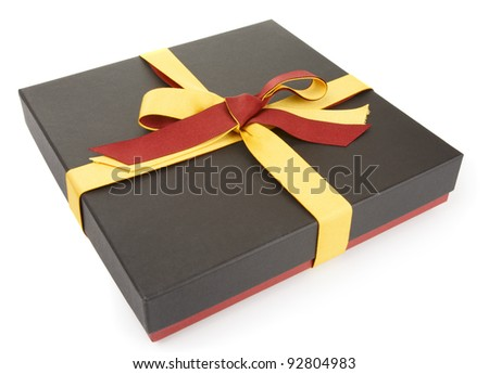 Flat cardboard gift box isolated on white, official style - stock photo
