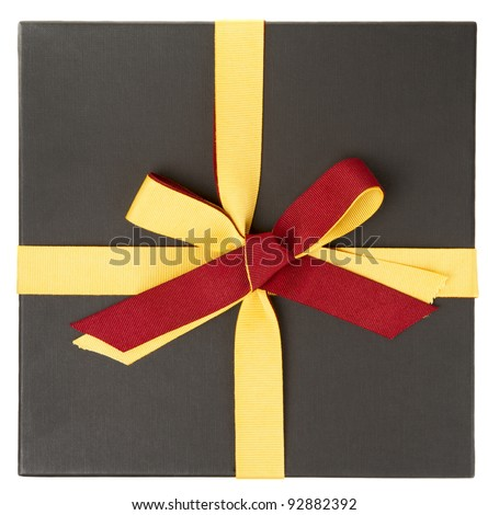 Flat cardboard gift box isolated on white shot from above - stock photo