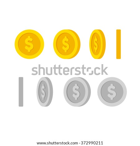Flat cartoon gold and silver coins with dollar symbol, set of icons at different angles for animation. Isolated illustration.