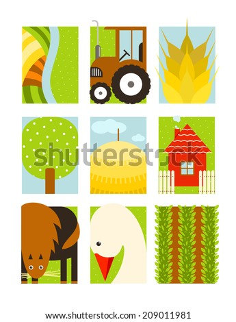 Flat Childish Rectangular Agriculture Farm Set. Country design collection.  Raster variant. - stock photo