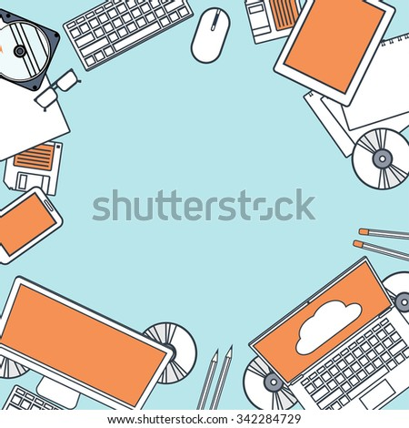 Flat cloud computing background. Data storage network technology. Multimedia content, web sites hosting. Memory, information transfer. - stock photo