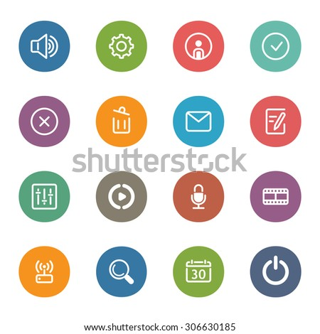 Flat Colored Icon Set of  movie network, equalizer, microphone recorder, sound speaker, settings, personal profile, envelope, mail, movie player, wifi, search, calendar, power button  - stock photo