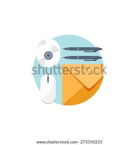 Flat communication background. Emailing. Social network. Business correspondence. - stock photo