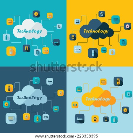 Flat concept, set modern design with shadow icons for web design and mobile applications, SEO. search Engine Optimization: technology - stock photo