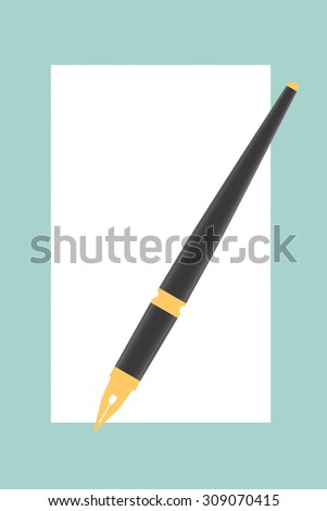 Flat Conceptual Illustration of Blank Paper with Pen on a green background - stock photo