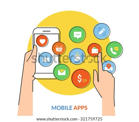 Flat contour illustration of human hand holds a smartphone with mobile apps icons