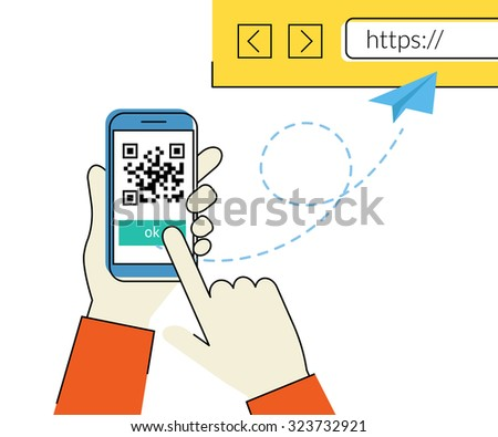 Flat contour illustration of man is scanning QR code via smartphone app then following the link to the webpage - stock photo