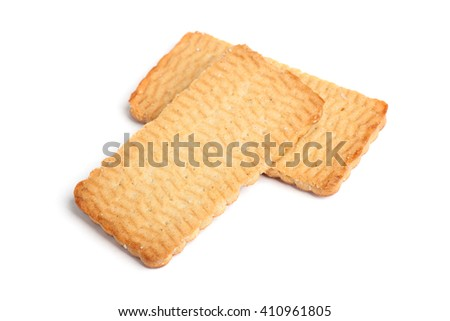Flat cookies isolated on white background - stock photo