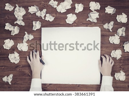 Flat creative illustration on hands of a man thinking about idea with sheet of paper and pencil