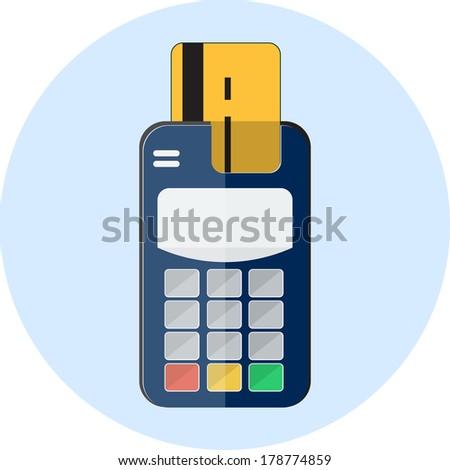 Flat credit card and card reader  - stock photo