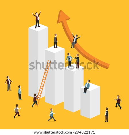 flat 3d isometric design of growing business concept - stock photo
