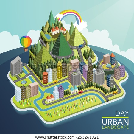 flat 3d isometric urban landscape illustration over blue background