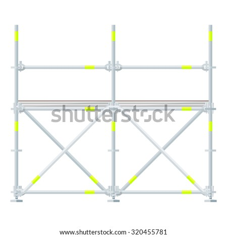 flat design aluminum prefabricated scaffolding isolated illustration white background  - stock photo