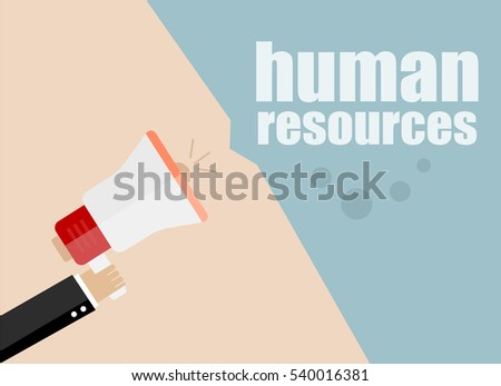 Flat design business concept Digital marketing business man holding megaphone for website and promotion banners. Human resources.