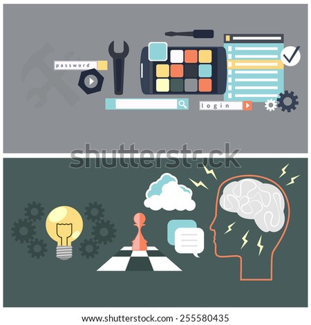 Flat design concept for app development and brainstorming with tools, programing code, human think. Raster version - stock photo