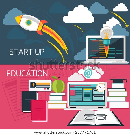 Flat design concept for business start up and online education with laptop connected to internet. Raster version - stock photo