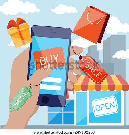Flat design concept for mobile marketing and online shopping with hand holding smartphone with discount tags and touching button buy on urban background. Raster version - stock photo