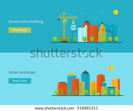 Flat design concept illustration with icons of building construction, city life and urban landscape. Concept Illustration in flat style design. Real estate concept illustration.