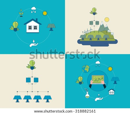 Flat design concept illustration with icons of ecology, environment and eco friendly energy. Concept of running a clean house and green energy. Thin line icons. - stock photo