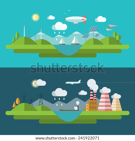 Flat design concept illustration with icons of ecology, environment, green energy and nature pollution - stock photo